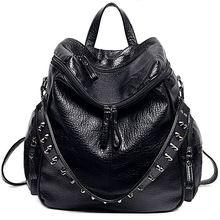 Femmes sac à dos sac à main 3 façons PU lavé cuir Rivet clouté dames sac à dos sac à bandoulière (noir)
