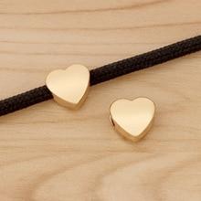 10 cuentas espaciadoras de corazón de oro rosa para pulsera, collar, joyería, accesorios, agujero de 4mm