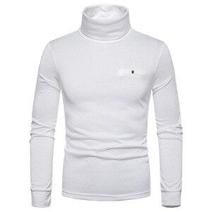 White Turtleneck T Shirt Men 2021 Brand Slim Fit Long Sleeve Plus Velvet Tee Shirt Homme Hipster Casual Basic T-shirt Men XXL