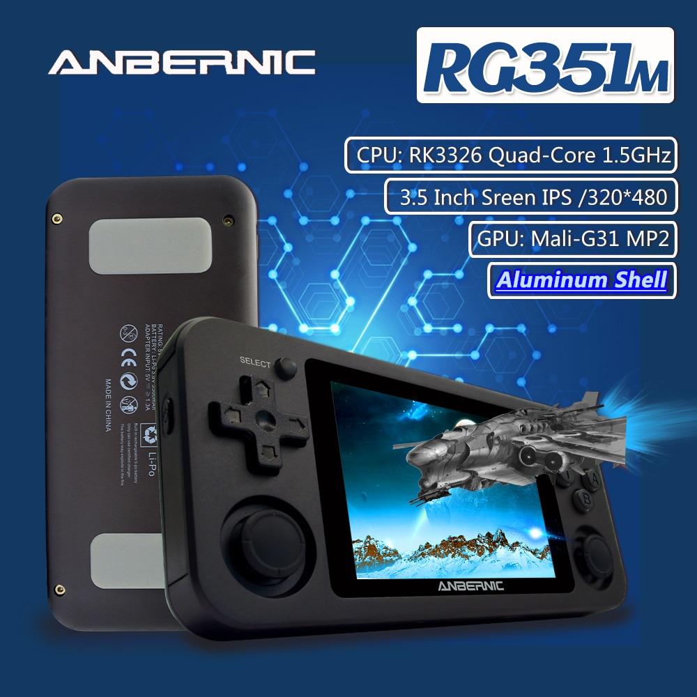 Anberonic RG351M النسخة الجديدة واي فاي PS1 ريترو لعبة 2400 ألعاب 64G ألعاب RG351P-نسخة محدثة RK3326 N64 جيب لعبة لاعب RG351