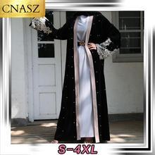 2020 nouvelle mode Abaya à manches longues perlé dentelle or velours Cardigan dubaï Robe islamique turquie moyen-orient mode