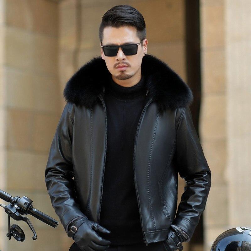 Faux Leather Jacket Men Autumn Winter Mens Fake Leather Jacket Fox Fur Collar Coat Thick Warm Coats Chaqueta Cuero Hombre