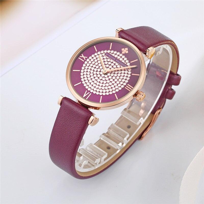 2020 WWOOR Women's watch Luxury Rhinestone purple women watch leather Quartz Fashion Dress small watch women waterproof clock enlarge