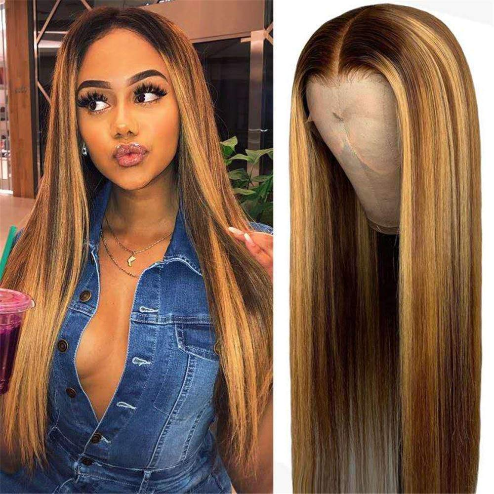 Peruvian Remy Highlight Honey Blonde Human Hair 13x4 Lace Front Wigs for Black Women 180 Density Straight 360 Lace Front Wigs