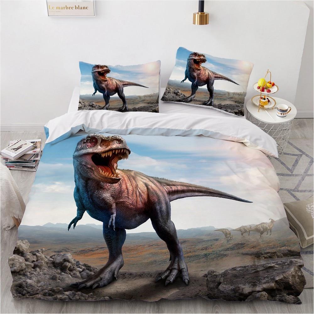 الفراش مجموعات ثلاثية الأبعاد مخصص حاف مجموعة تغطية مبطنة المعزي أغطية سرير المخدة الملك الملكة 230x230 سنتيمتر الحيوان ديناصور المنزل Texitle