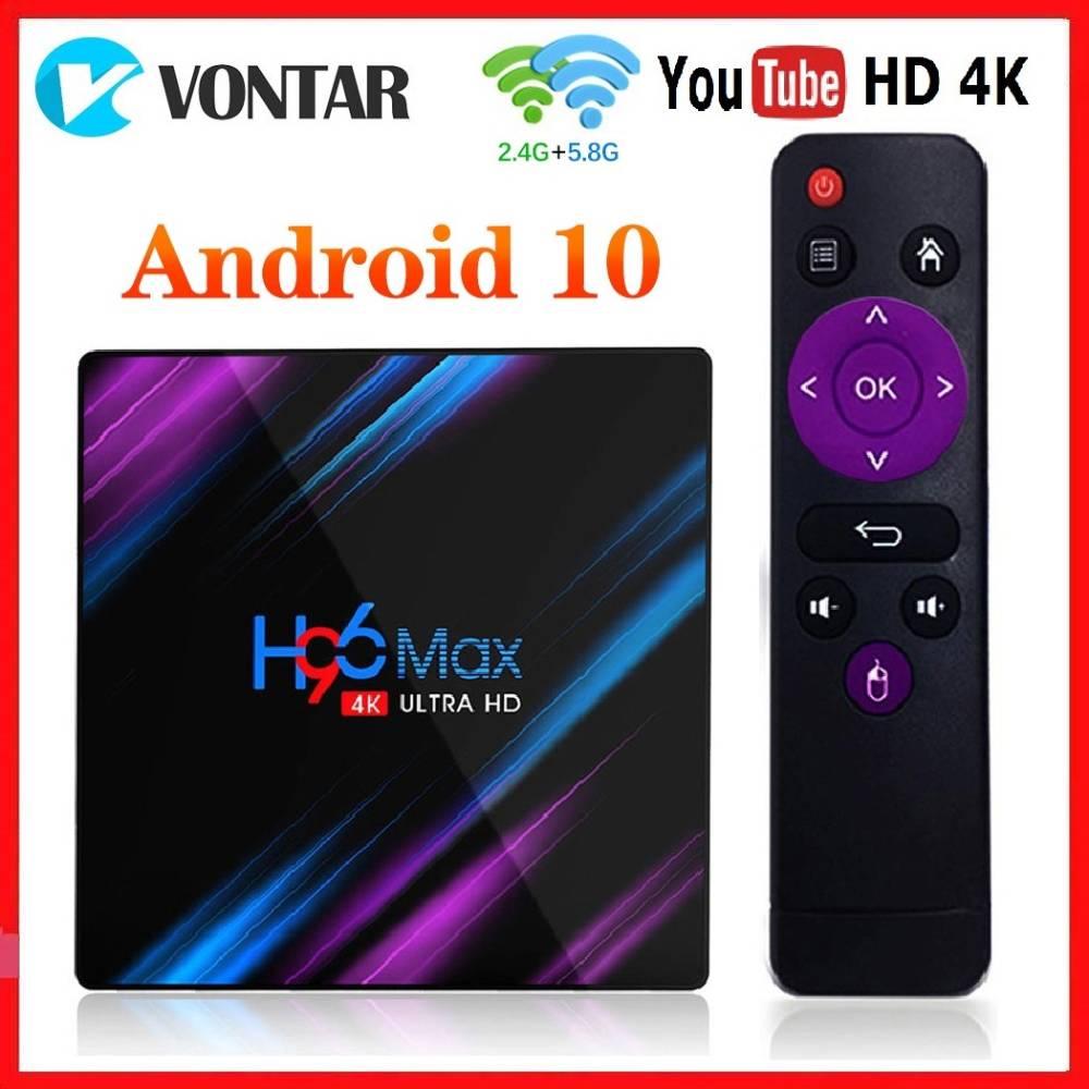 صندوق التلفزيون أندرويد 10.0 RK3318 4GB RAM 64GB ROM 4K واي فاي H96 ماكس مشغل الوسائط الذكية أندرويد 10 H96MAX TVBOX يوتيوب مجموعة صندوق