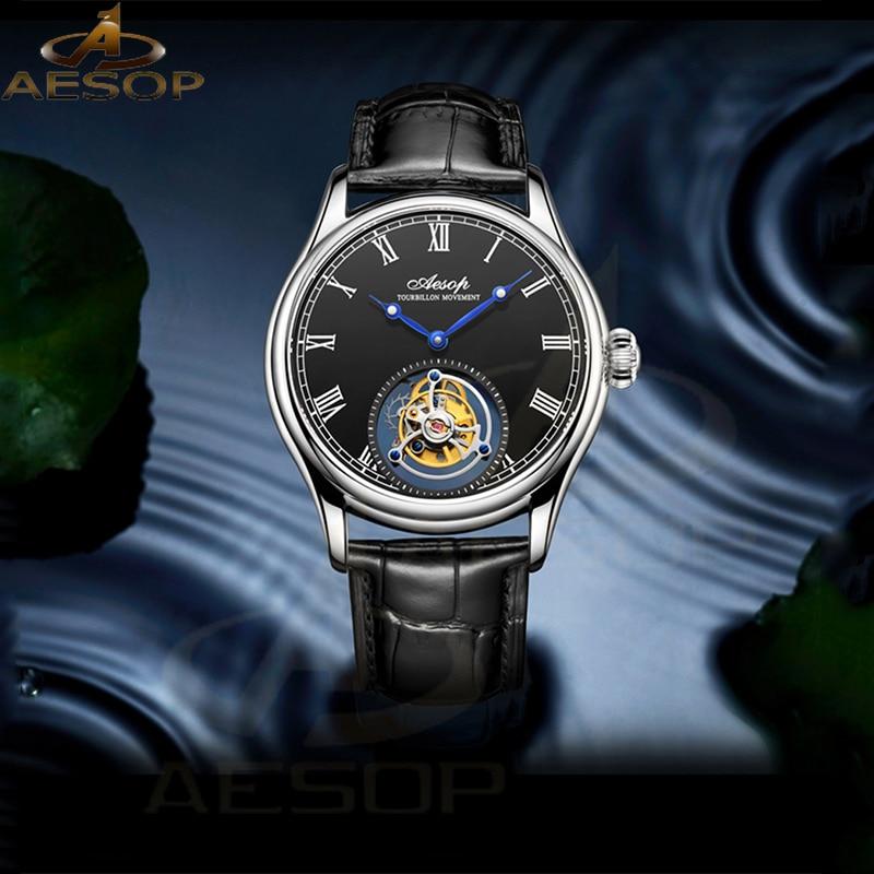 ايسوب الميكانيكية الرجال ساعة تحلق توربيون ساعة ميكانيكية للرجال ساعة اليد رجل الهيكل العظمي الذكور ساعة الياقوت الساعات reloj