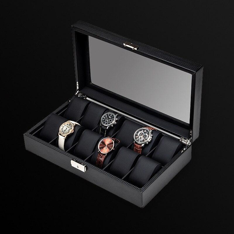 Carbon Fiber Leather Watch Box Organizer for Men Black Luxury Jewelry Bracelet Storage Box Mechanical Watch Ornament with Lock enlarge