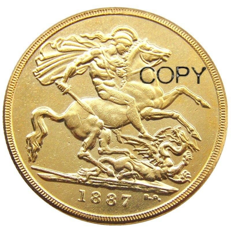 Copia de moneda chapada en oro de dos libras doble soberano Reina Victoria 1887