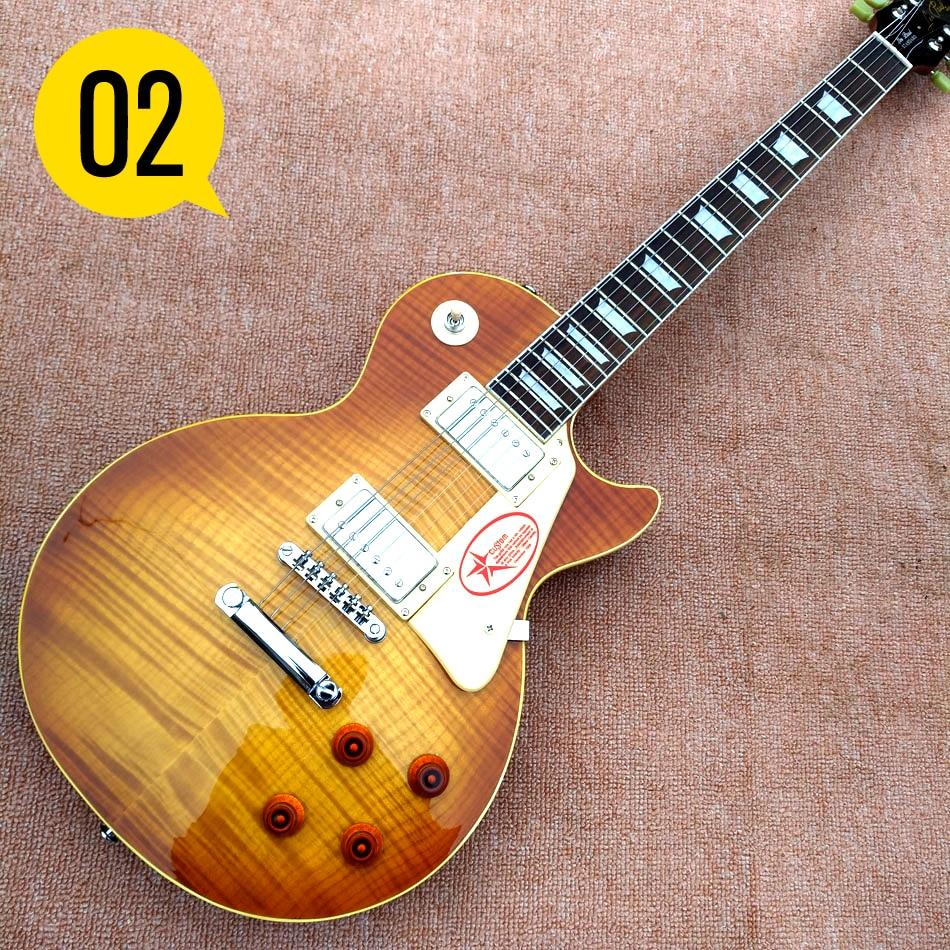 Электрическая гитара с грифом из палисандра, желтая переплетная гитара, топ из древесины табака, корпус из массива красного дерева