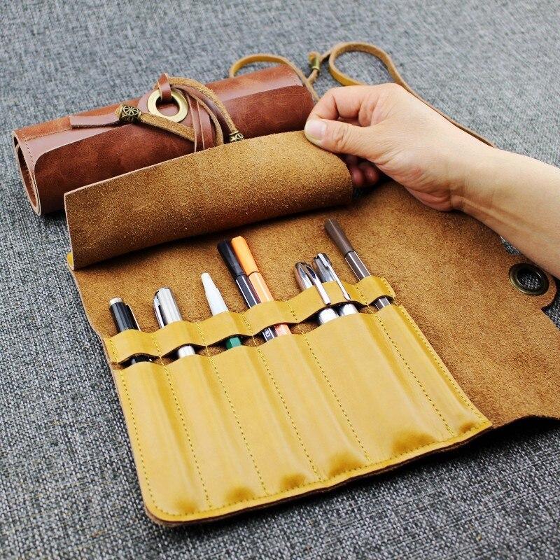 Cuero vacuno Retro pluma cortina Multi-posición combinación cuero escuela lápiz estuche almacenamiento literario cubierta de la pluma suministros de papelería