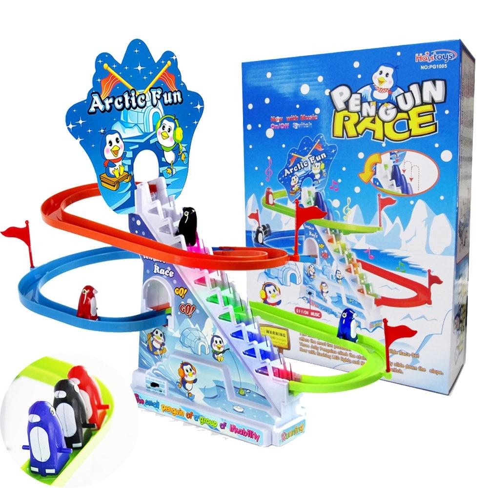 conjunto de corrida infantil de pinguim artico brinquedo infantil engracado com luzes piscantes