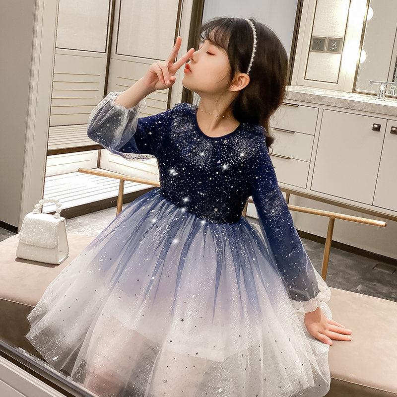 Vestidos de lentejuelas para niñas, novedad de moda, vestido de estrellas brillantes de colores degradados, ropa de noche de fiesta de princesa, ropa elegante para niñas