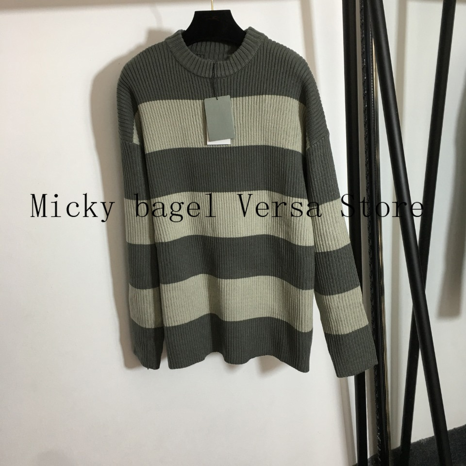 2021 luxury brand stripe letter printing fashion women's top temperament round neck versatile loose knit long sleeve Pullover enlarge