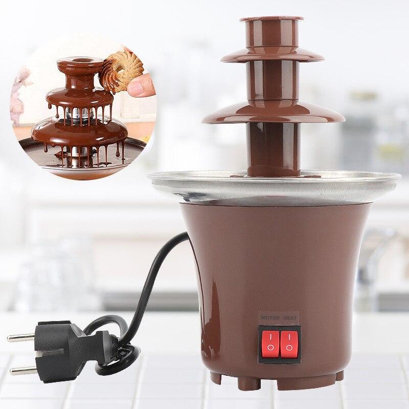 نافورة شوكولاتة صغيرة جديدة ثلاث طبقات تصميم مبتكر تذوب الشوكولاته مع آلة فوندو التدفئة لتقوم بها بنفسك شلال صغير Hotpot