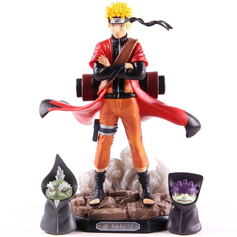 Naruto Shippuden Uzumaki Naruto figura juguetes modo Sennin con SIL Fukasaku PVC figura de acción modelo coleccionable juguete