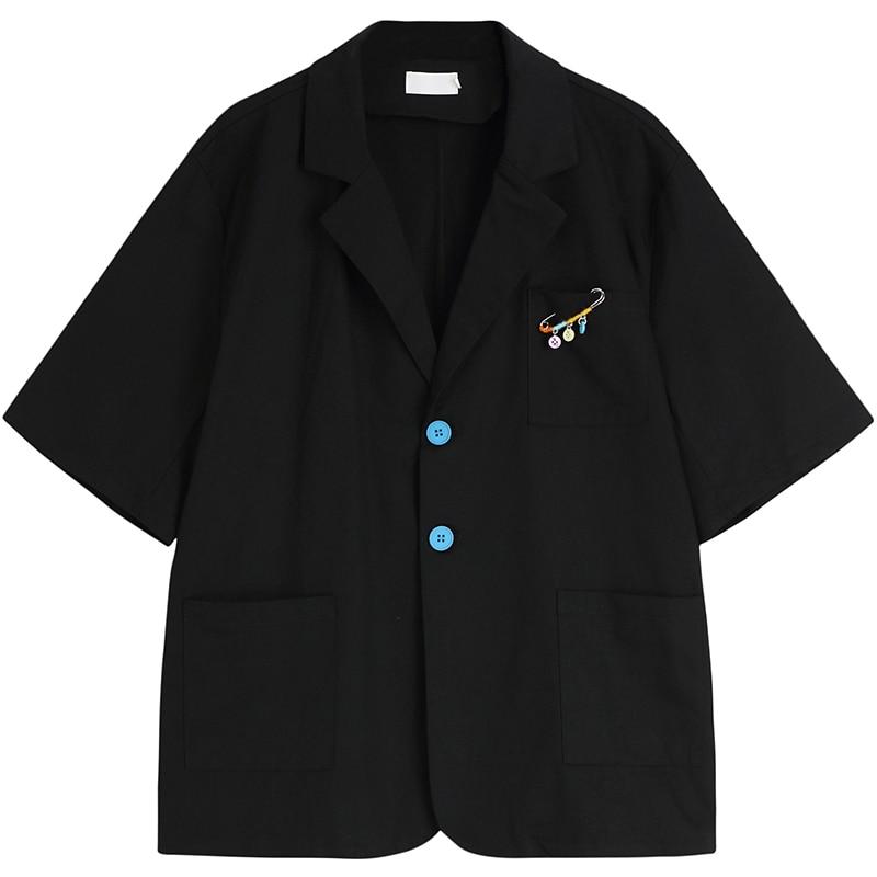 Women's Suit 2021 Black Sense of Design Casual Short Sleeves Korean Fashion Baggy Tailored Collar TO