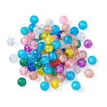 4mm 6mm 8mm 10mm redondo de Color combinado craquelado cuentas de vidrio cuentas espaciadoras sueltas para fabricación de joyería DIY pulsera collar