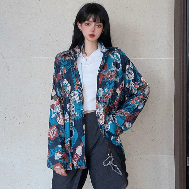 Harajuku Oversized Polyester Blouses Women 2021 Spring Summer Long Sleeves Print Shirts Casual Female Fashion Tops Blusas Mujer