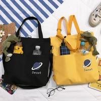 multi function two pocket canvas women shoulder bag cotton tote shopper bag eco reusable shopping bag handbag cloth backpack