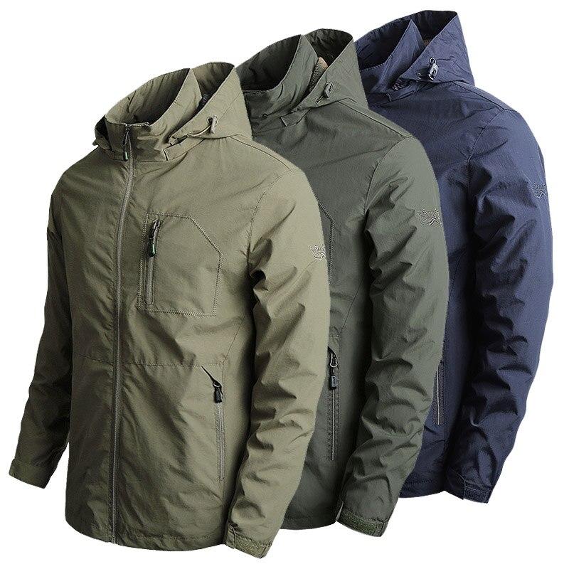 Куртка мужская с капюшоном, тактическая Ветровка-бомбер, Бомбер в стиле хип-хоп, уличная одежда, мягкий материал, ветровка, осень-весна