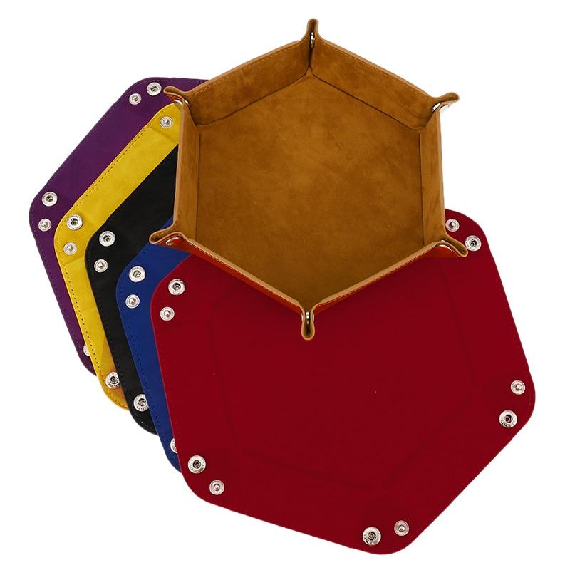 6 farbe PU leder hexagonalen falten hexagon dice tray würfel box würfel spiel tablett für RPG DnD spiel würfel lagerung box