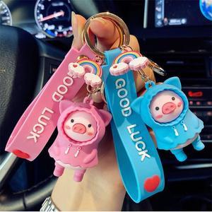 Творческий брелок милый плащ с героями из мультфильма «Свинка Пеппа» из ключ цепочка для влюбленных аксессуары мешок кулон брелок для автомобильных ключей в подарок для девочек