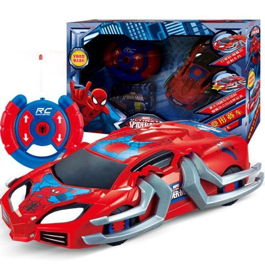 Vengadores acción Spider Man Control remoto figuras de coches superhéroes Spiderman PVC coches eléctricos RC vehículo modelo juguetes para regalo