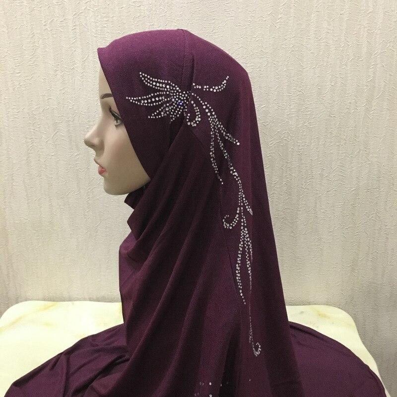 Feminino liso macio amira imediato hijab cachecol pronto para usar moda macio cabeça envoltório muçulmano cabeça cachecol puxar no headwear l tamanho