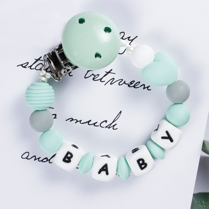 Baby Nipples Clips Silicone Teething Beads Baby Birthday Shower Gift Baby Pacifier Clip Chain Personalized Name Dummy Holder