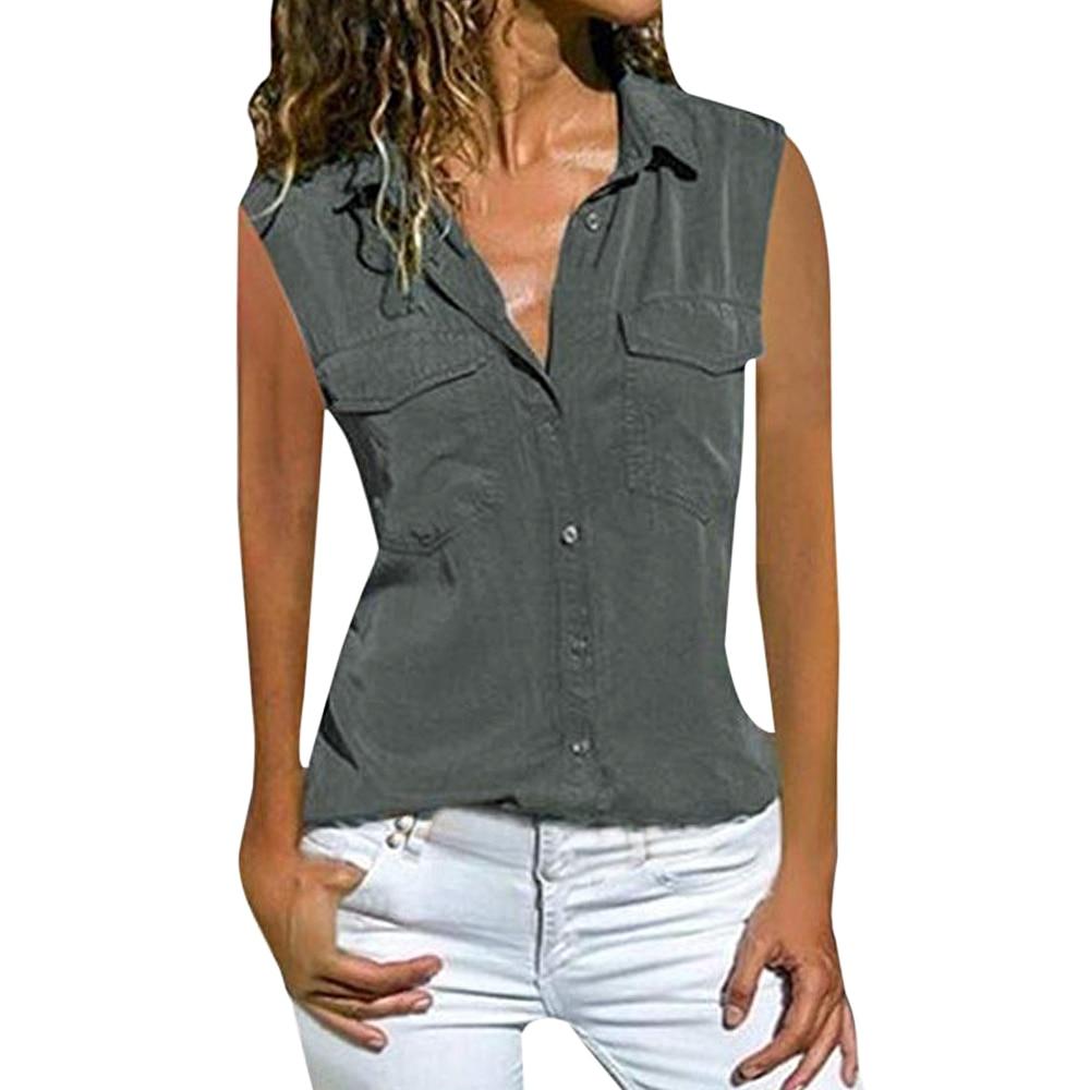 Blusas con botones para mujer de verano 2020, blusas con bolsillo estilo bohemio liso holgadas Vintage informales de chifón, tallas grandes, camisetas sin mangas