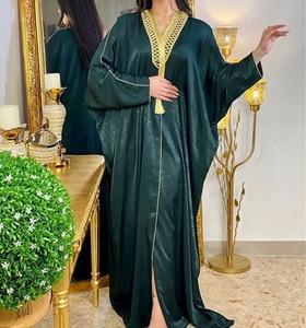 Open Abaya Jalabiya Women Braid Trim Long Batwing Sleeve Muslim Robe Party Gown Arab Dubai Turkey Islam Moroccan Kaftan Clothes