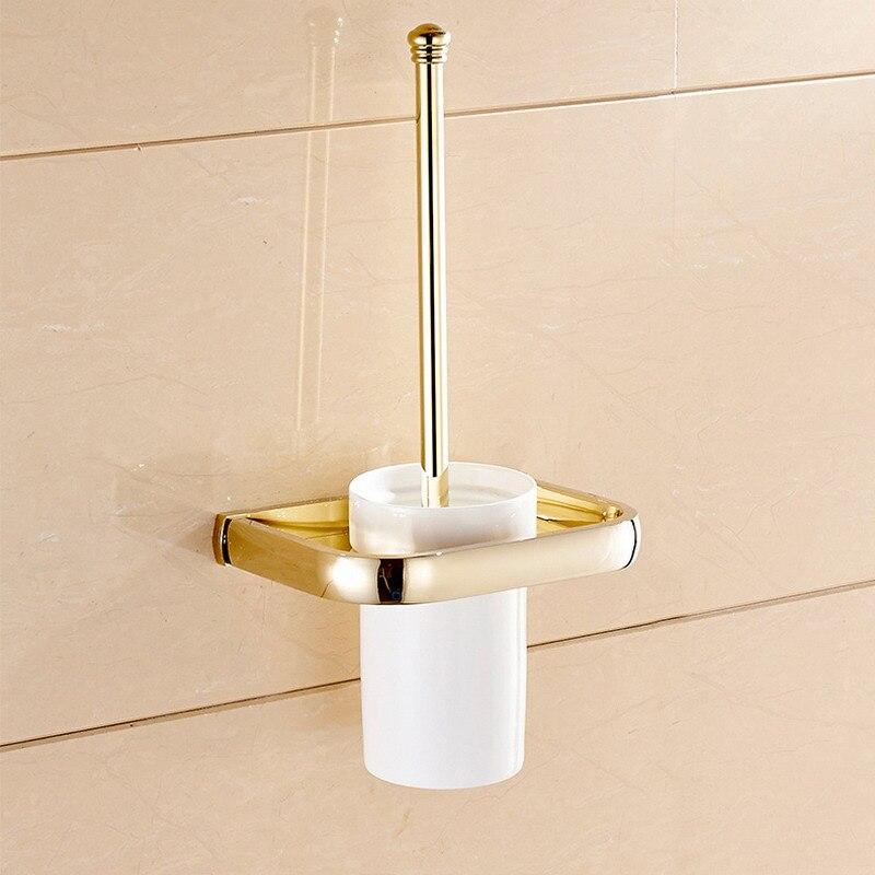 حامل فرشاة المرحاض المثبت على الحائط ، مربع فاخر ، نحاسي ذهبي ، مجموعة ملحقات الحمام ، منتجات الحمام