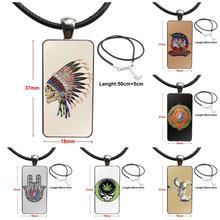 Pour hommes femmes cadeau reconnaissant mort printemps 1990 verre pendentif collier à la main demi pendentif Rectangle collier
