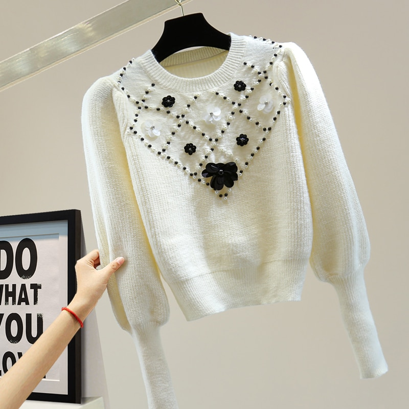 مصمم أزياء الخريف الشتاء سترة المرأة أسود دسم الأبيض الخرز الماس نفخة الأكمام عالية الجودة فضفاض الأعلى