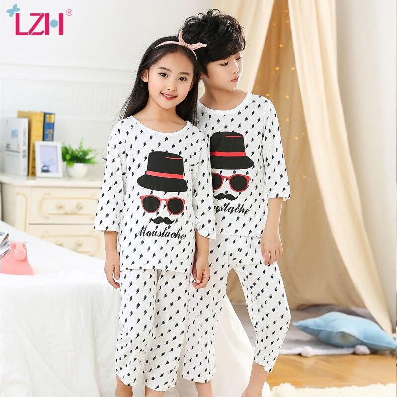 LZH 2021 весенне летняя Милая мультяшная Пижама для маленьких мальчиков тонкий секционный домашний костюм для детей с круглым вырезом Одежда для девочек|Комплекты пижам| | АлиЭкспресс