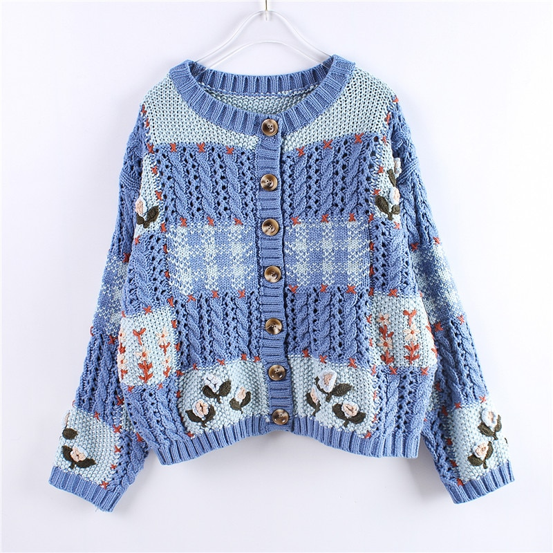 Net Red Sweater Female Lazy Wind Loose Autumn Coat Ancient Hand Embroidery College Wind Cardigan Cardigan enlarge