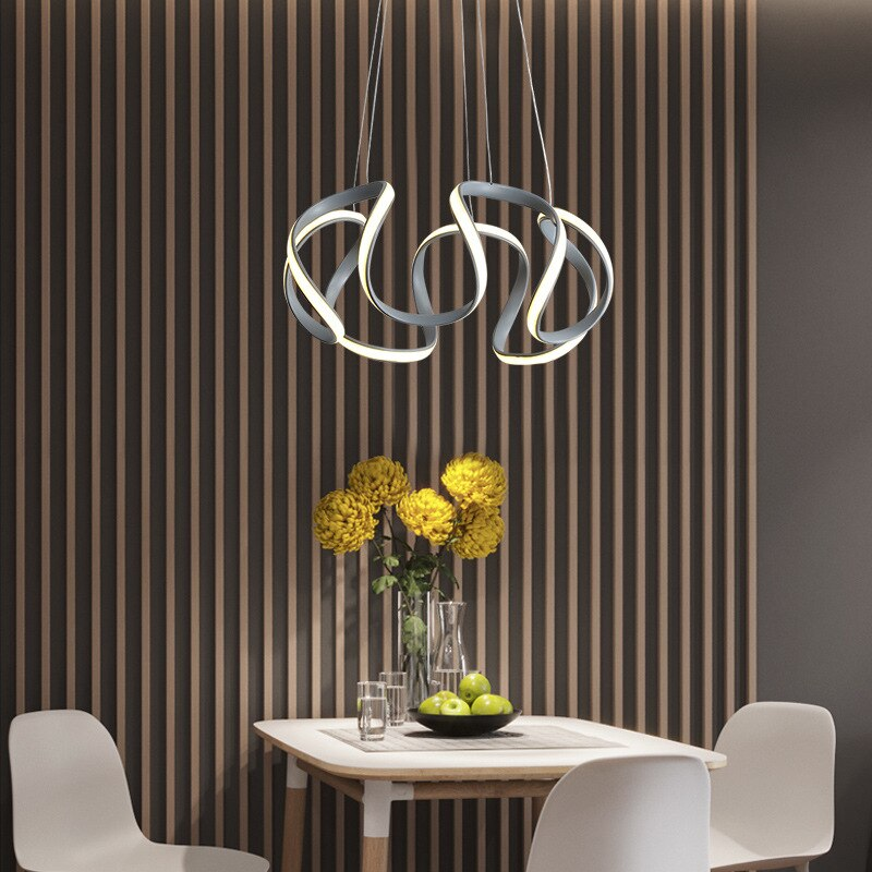 JOYLIVE Modern Simple Lamp in the Living Room Dining Chandelier Personalized Ring Shaped Lamp LED Intelligent Hall Chandelier