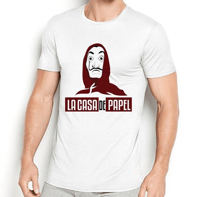 Camiseta holgada con máscara de papel para casa y dinero para Hombre, Camiseta informal de gran tamaño de hip hop, Camiseta divertida para Hombre, payaso, Joker, Hombre de verano