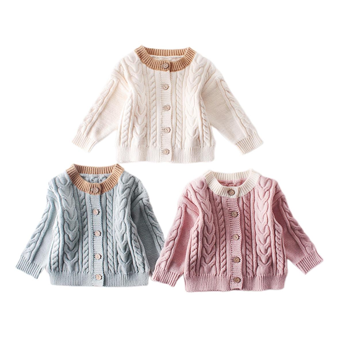 Citgeett/осенне-зимняя трикотажная верхняя одежда для маленьких мальчиков и девочек; Милый однотонный однобортный кардиган с длинными рукавами; Повседневный Топ-0
