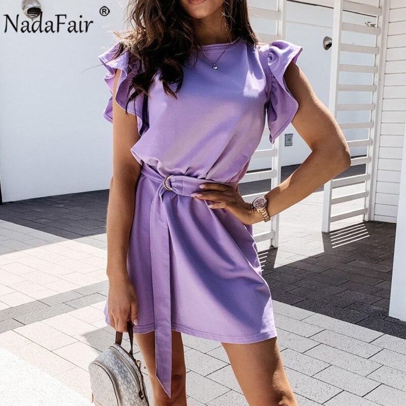 Nadafair оборками Туника Повседневное Летнее мини-платье без рукавов, с плюс Размеры фиолетовый, черный белый короткий рукав вечерние однотонные короткие платья для Для женщин