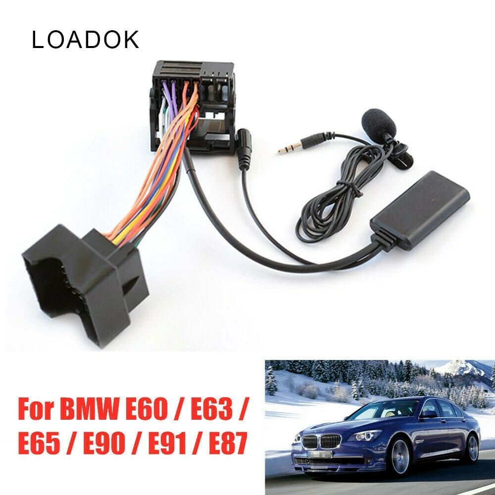 Беспроводной Bluetooth-кабель для воспроизведения аудио и музыки, автомобильный адаптер громкой связи для микрофона, проводной провод для BMW E60 /...