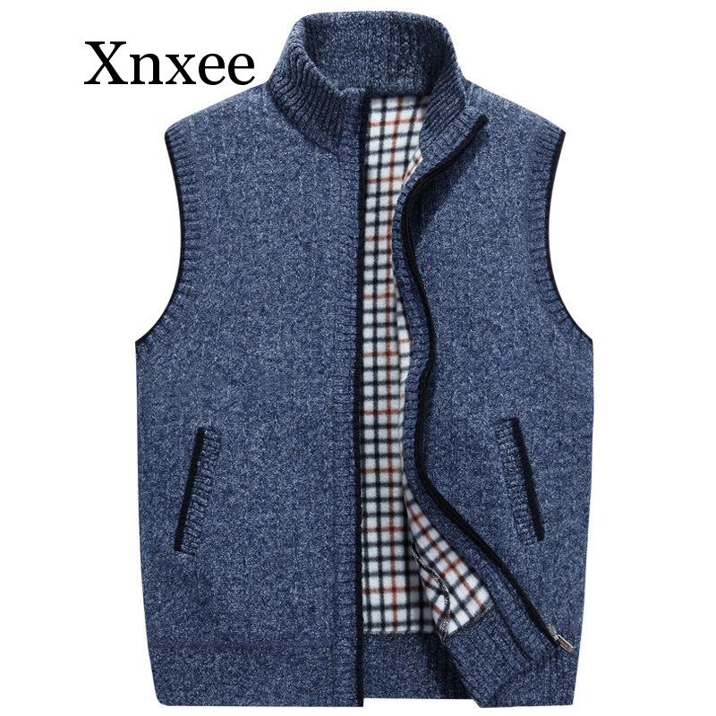Outono inverno camisolas de lã masculina colete casaco masculino sem mangas de malha colete jaqueta de lã sólida sweatercoat plus size 3xl