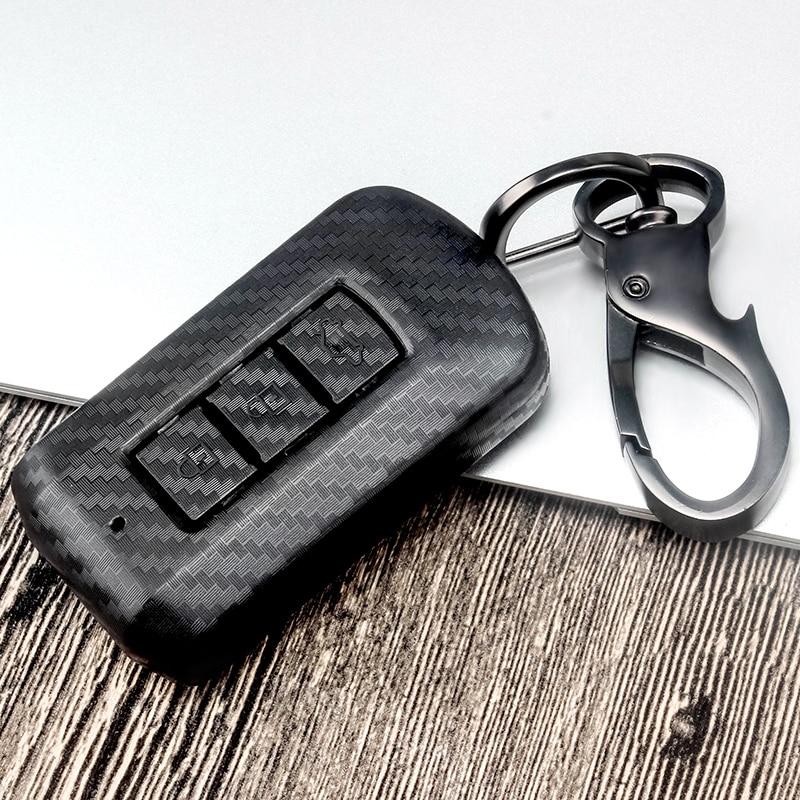 ABS Carbon Fiber Car Key Case Cover For Mitsubishi Outlander Lancer 10 Pajero Sport ASX RVR L200 Eclipse ASX EX Cross 2 3 Button