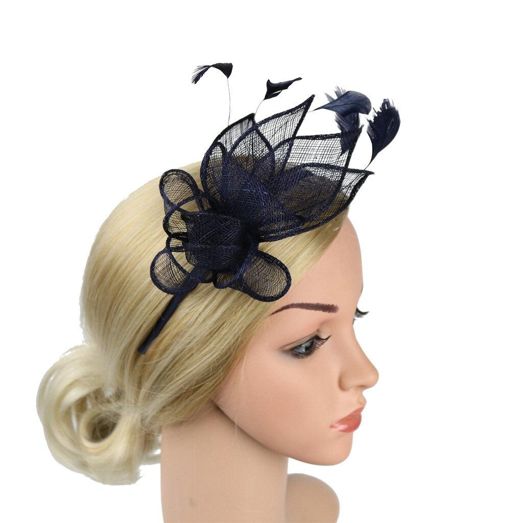 Navidad venda malla, plumas sombrero las mujeres elegantes accesorios para el cabello niñas noche decoración de la fiesta de Bandolete Natal Dropshipping. Exclusivo. #