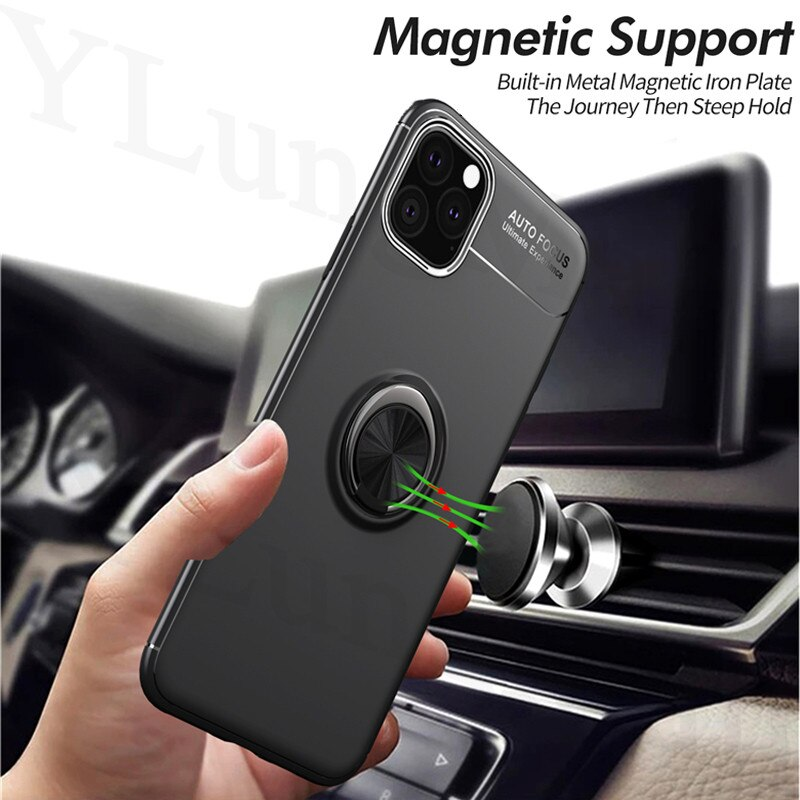 Para iPhone 11 Pro Max funda magnética soporte de anillo suave mate funda de silicona para iPhone 6 6S 7 8 Plus X XR XS Max se 2020 se2 funda