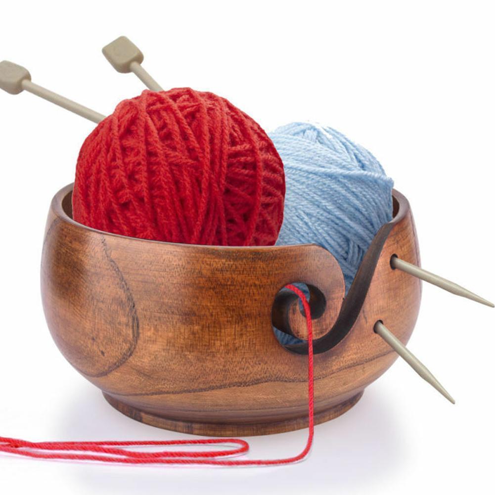 Cuenco de almacenamiento de hilo de madera organizador de ganchillo hecho a mano de punto cuenco de costura almacenamiento suministros de lana K4W2