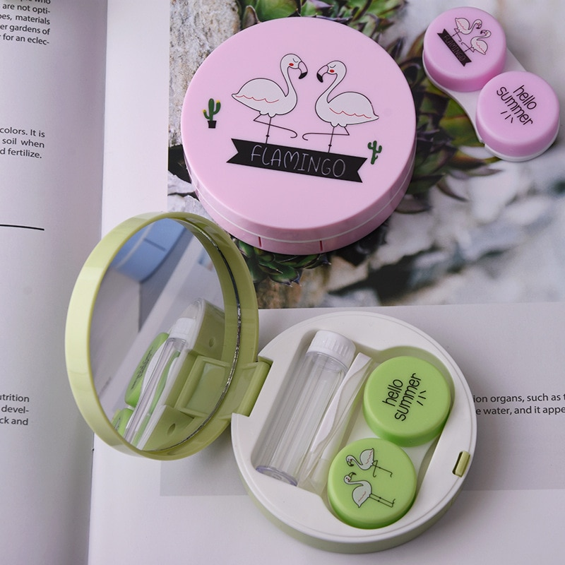 Color Flamingo Contact Lenses Case For Lenses Container Contact Lens Cleaner Lens Travel Mirror Trav