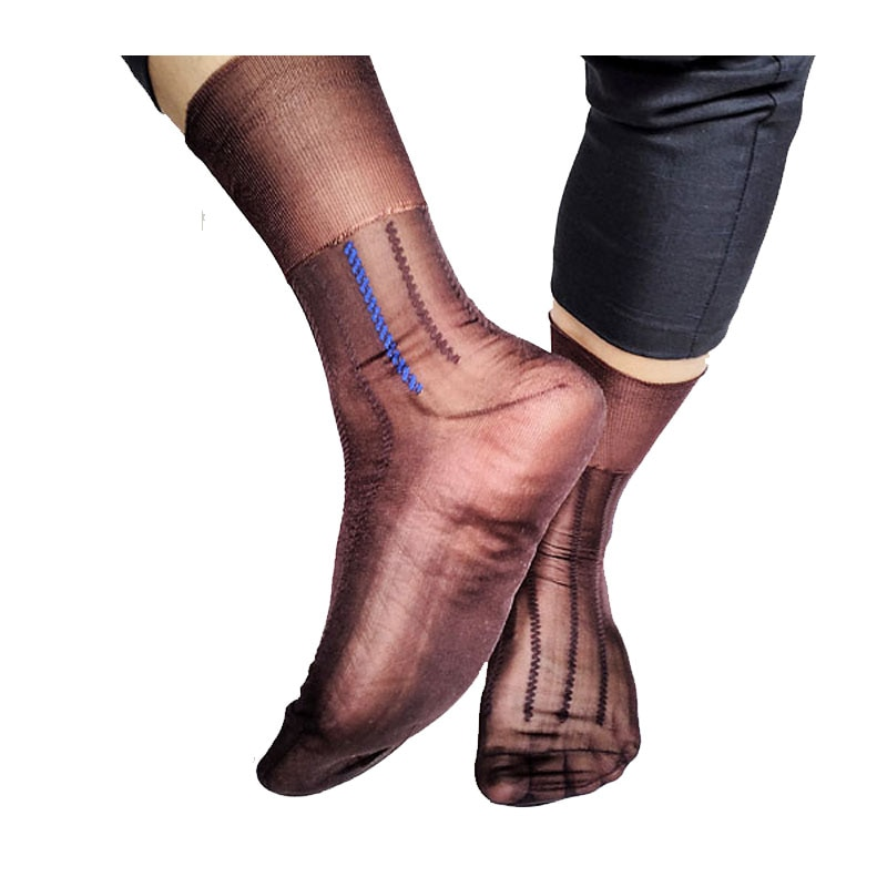 PEAJOA Brand Mens Socks With Striped Jacquard Line Nylon silk Sexy Gay Male Transparent Socks High quality Softy Sheer Socks peajoa brand striped thin socks for gentlemen nylon silk socks mens sexy soft gay sexy socks fetish collection male sheer socks