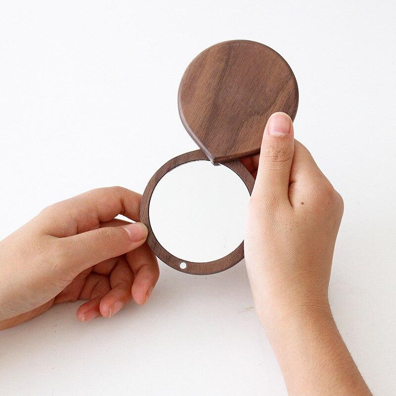 Деревянное Зеркало из ореха, круглые складные двухсторонние зеркала, портативное маленькое зеркало из ореха в японском стиле, зеркало для м...